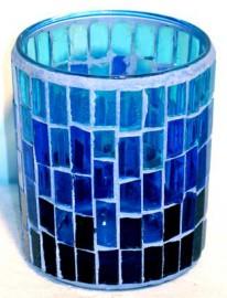 Blue Mosaic Votive Candle Holder