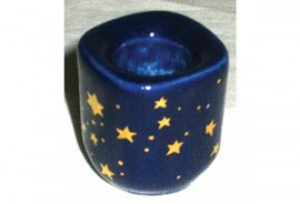 Blue Ceramic Starry Chime Candle Holder
